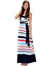 Kleider Damen Dasongff Sommerkleid Damen Partykleid High Waist Striped  Ärmellos Kleider Lange Maxi Kleid Abendgesellschaft Strand c7fa40c4f0