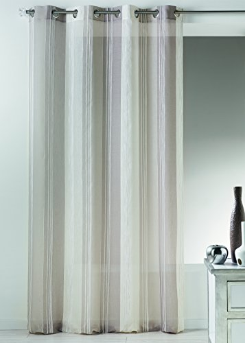 Homemaison hm6911398tenda a righe verticali ricamato fantasia etamina poliestere talpa 140x 260cm