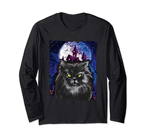 Original Kostüm Scary - Scary Halloween Schwarze Katze Kostüm Fledermaus Spukhaus Langarmshirt