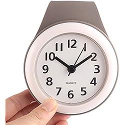 ANNA SHOP LIMITED Wasserdichte Moderne Wanduhr Stille Wall Clock Badezimmeruhr für Badezimmer Küche hängende Uhr mit Saug und Suspendierungs Funktionen