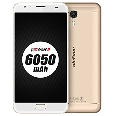 [[Nouvelle Sortie]] Ulefone Power 2 - 6050mAh Batterie 5.5 pouces Android 7.0 smartphone 4GB RAM 64GB ROM MTK6750T Octa Core 13MP + 16MP caméra de charge rapide Empreinte digitale avant GPS - Or