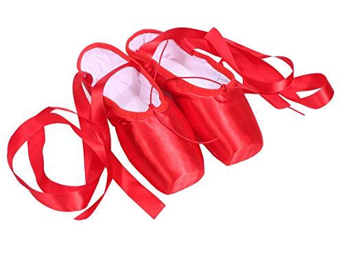 CYSTYLE Damen Mädchen Satin Spitzenschuhe Ballettschläppchen Ballettschuhe Tanzschuhe Ballett Trainings Schläppchen mit Silikonhülle (EU 39=Asia 41, Rot) - Rote Ballettschuhe