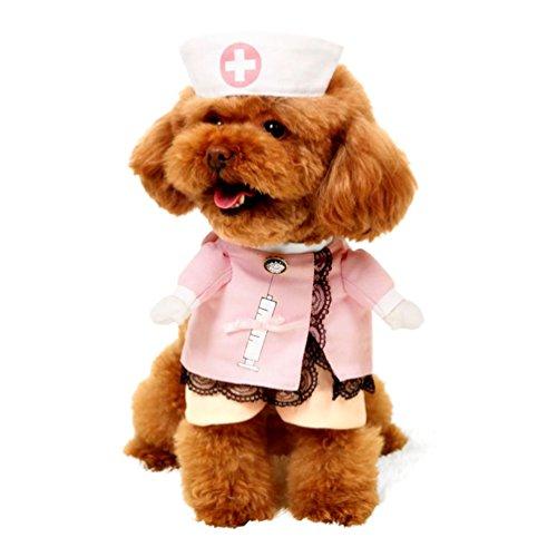 Imagen de smalllee _ lucky _ store pequeño perro ropa disfraz de enfermera para niñas niños gato perro con sombrero elegante lazo todas las estaciones, color rosa alternativa
