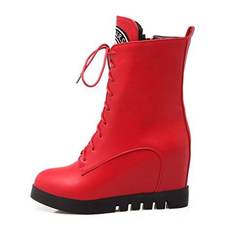 VogueZone009 Donna Puro Tacco Alto Luccichio Allacciare Stivali con Ornamento Di Metallo Rosso