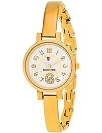 Swiss Trend White Dial Golden Elegant Designer Women's Watch