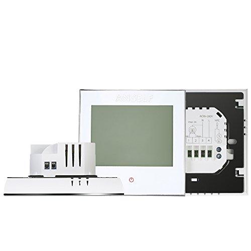 Anself Programmierbarer Raumthermostat Temperaturregler mit LCD Touchscreen Fußbodenheizung Wasserheizung - 3
