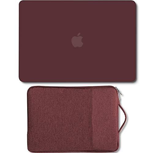 Hülle MacBook Air 13-Zoll -Paket Ältere Version Kompatibel A1369 / A1466 2008-2017 NO Touch-ID, GMYLE-Hartschalen-Hülle und 13-13,3-Zoll-Laptop-Hülle frei, Bordeaux