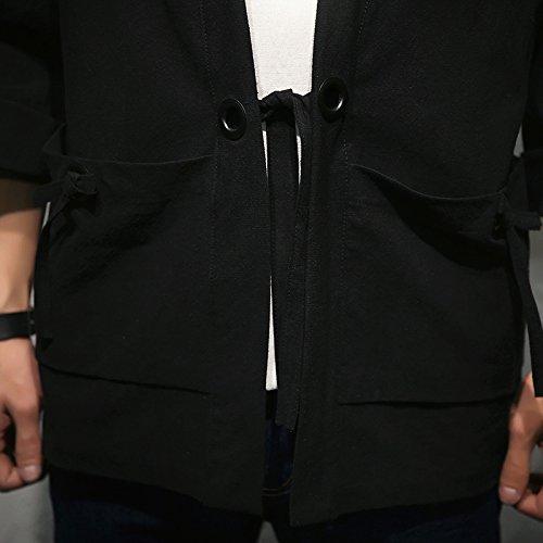 Mirecoo Herren Baumwolle Japan Happi Kimono Haori Jacke Übergangsjacke Schwarz