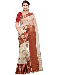 Pisara Women Banarasi Cotton Silk Saree With Blouse Piece,Off-white & Red Sari