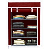 AYSIS Collapsible Wardrobe Organizer, Multipurpose Storage Rack, 4 Layer (Maroon)
