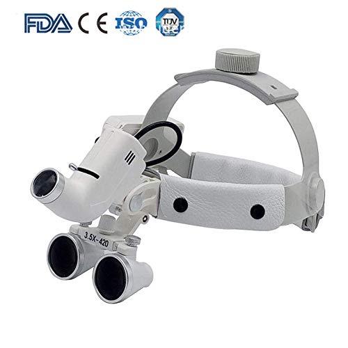 Dental LED Linterna Quirúrgica 3.5X420mm Lupa Cuero