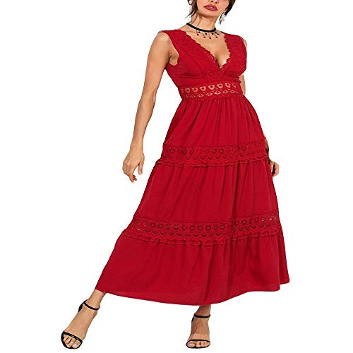 Yuhualiyi123 Kleid Sexy Deep V Elegante weiße Spitze Halter Openwork langes Kleid