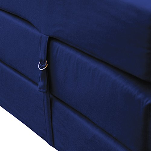 Navy Blue Cotton Twill Fold Out Z Bed Cube Mattress with Fastening