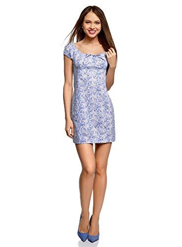 oodji Ultra Damen Baumwoll-Kleid mit Raffungen auf der Brust, Blau, DE 42 / EU 44 / XL - Schuhe : Damen Kleidung Rosa