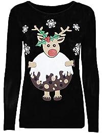 MEIbax Damen Weihnachten Sweatshirt Print Pullover Langarmshirt Bluse