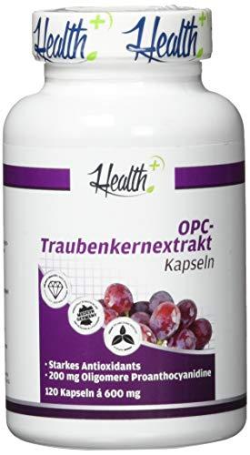 HEALTH+ OPC Traubenkernextrakt - 120 Kapseln, 200 mg reines OPC Pulver mit 50% OPC Gehalt, OPC Kapseln hochdosiert, bestmögliche Qualität aus französischen Trauben, Made in Germany