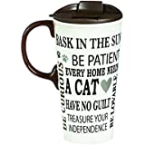 Cypress Home Cat Rules Ceramic Travel Coffee Mug, 17 ounces by Cypress