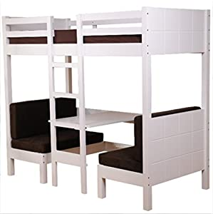Single Wooden High Sleeper Bed - with Duo Seat and Desk Arrangement Below - A Practical Addition to your kids' Bedroom
