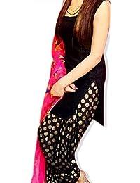 Simple And Elegant Salwar Suit Material - Black Capre Fabric Shirt And Banarasi Salwar With Phulkari Dupatta