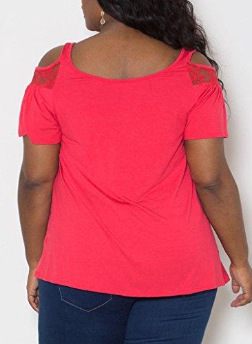 Damen Blusen Tops T-Shirts Oberteil Kurzarm Rundkragen Lace Stitching R¨¹ckenfrei Mit Schulter-?ffnungen Gro?e Gr??en Locker Rot