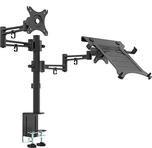 Bramley Power LCD LED Monitor and Laptop Desk Mount Arm Stand Bracket, Very Strong and Light Weight Die-Cast Aluminium supports up to 10Kg 30