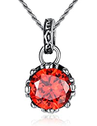 Stainless Steel Vintage Round Red Cubic Zirconia W. Cross Crown Prong Women's Pendant Necklace- G2004JZ2