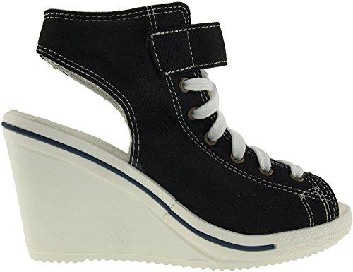 Maxstar 775 Toile décorative ouverte-Wedge Sandals chaussures à talon Noir - noir