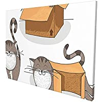 """Cat Lover Decor Cartoon Cat Trying To Fit In Different Sized Cardboard Boxes Domestic Companion Grey Orange White Painting Premium Panoramic Canvas Wall Art Painting 12""""X 16"""""""