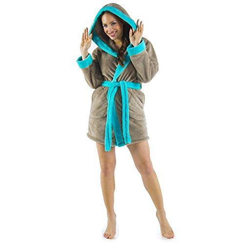 CelinaTex Damen Bademantel mit Kapuze, Flauschiger Sherpa-Fleece, Kurzer Saunamantel für Wellness Spa, 5000711, Trend Morgenmantel Serie Kos XS Taupe türkis
