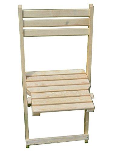 Chaise Pliante en Bois 80 x 43 cm Brut Siesta Chaise de Jardin, Une terrasse ou Un Nouveau décor monté