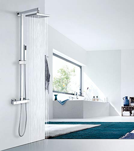 Design-Duschsystem Duschsäule SEDAL-Thermostat 8921C Basic, Auswahl Duschkopf Quadrat:40x40cm