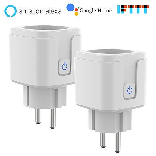 Prise Connectée, Commande Vocale, Commande à Distance, Prise Programmable avec Minuterie, Prise Intelligente WiFi Fonctionne avec Amazon Alexa (Echo, Echo Dot), Google Home, IFTTT, 16A, 3680W, (2PCS)