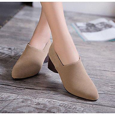 Wsx & Plm Femmes-bottines-casual Formal-confortable-carré-pu (polyuréthane) -noir Gris Tissu Amande Gris