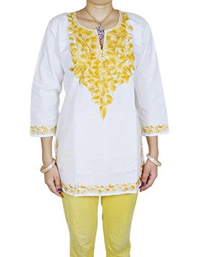 RoyaltyLane Frauen Gestickt 100% Baumwolle Gelb Blumen oben Kurti 3/4 Arm (V-neck-kurta)