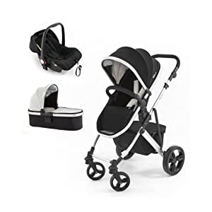 Tutti Bambini Riviera 3-in-1 Silver Travel System, Black/Cool Grey iSafe 2 in 1 Stroller / Pram Extremely Easy Conversion To A Full Size Carrycot For Unrivalled Comfort Complete With Boot Cover, Luxury Liner, 5 Point Harness, Raincover, Shopping Basket With Closed Ziped Top High Quality Rubber Inflatable Wheels With The Full All around Soft Suspension For That Perfect Unrivalled Ride 12