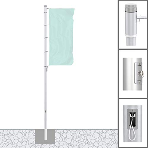 Vispronet® Alu-Fahnenmast 7 m/ø 75 mm Protect Extend ✓ Hissbarer, Drehbarer Ausleger ✓ Nahtlos Zylindrisch ✓ Diebstahlgesichert