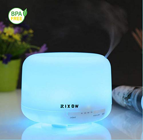 Diffusore di oli essenziali, rixow umidificatore ad ultrasuoni, diffusore di aromi ad ultrasuoni - 7 colori led waterless auto shut-off purificatore per spa, yoga, camera da letto, ufficio, baby room (500ml)