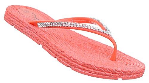 Damen Sandalen Schuhe Pumps Zehentrenner Strand Treter schwarz blau beige pink rot weiss gelb coral 36 37 38 39 40 41 Rot