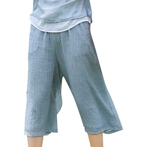WOZOW Capri Weites Bein Palazzo Stoffhose Damen Bettwäsche Baumwolle Solid Loose Lose Swing Dress Freizeithose High Waist Casual Crop Trousers Hosen (L,Blau) (Fische Mädchen High Monster)
