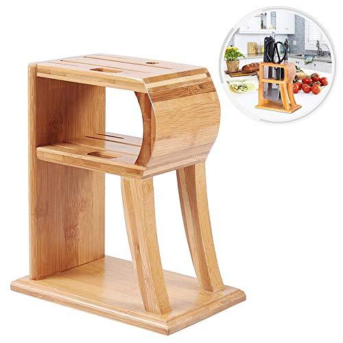Bambou cuisine comptoir Top couteau bloc couteau rangement organisateur couverts présentoir support ciseaux avec 6 fentes porte-cuisine
