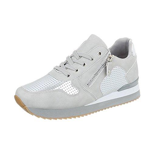 Ital-Design Sneakers Low Damen-Schuhe Sneakers Low Sneakers Schnürsenkel Freizeitschuhe Grau Silber, Gr 38, G-86-1-