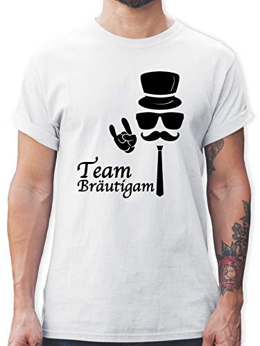 JGA Junggesellenabschied - Team Bräutigam Hipster Suit up - XL - Weiß - L190 - Herren T-Shirt und Männer Tshirt (Weiß Schnurrbart Kostüm)