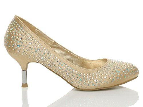 Donna tacco medio matrimonio sera damigella d'onore scarpette décolleté taglia (Gold Satin Diamante)