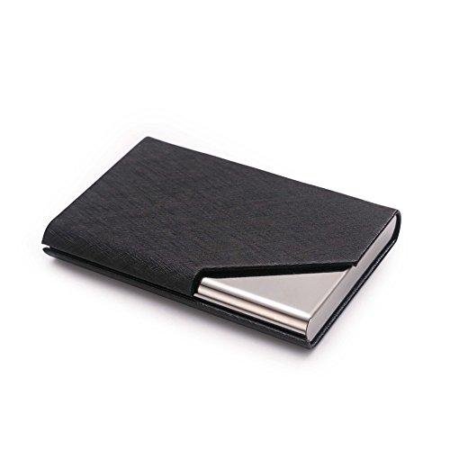 Teemzone Mini Tarjetero de Acero Inoxidable y Cuero PU Porta Tarjetas de Visita Nombre Crédito de Cerrar Magnética (Negro)