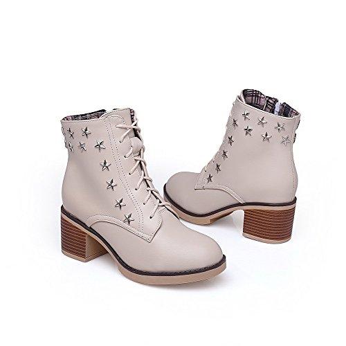 AllhqFashion Damen Niedrig-Spitze Mittler Absatz Eingelegt Pu Leder Stiefel Cremefarben