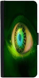 Snoogg Clock In A Green Eye 2605 Designer Protective Phone Flip Case Cover For Vivo V1