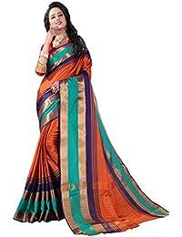 Orange Cotton Woven Saree With Blouse