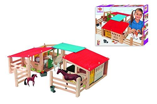 Eichhorn 100002517 - Pferdestall Kinderspiel, 29-teilig, 2 Gebäude mit Durchgang - variabel aufbaubar - 70 x 60 cm, inklusive Zäune - passend für Pferde von 10-17 - Spielzeug-bauernhof-gebäude