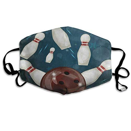 Reusable Mund Maske, Face Mask, Face Mask Vintage Sport Bowling Ball Great Cycling Half Face Earloop Mund Maske for Boys