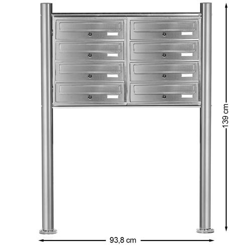 PRIMOPET Homelux V2A Edelstahl Standbriefkasten MBS08 Briefanlage Mailbox Postkasten mit 8 Brieffächer - 6